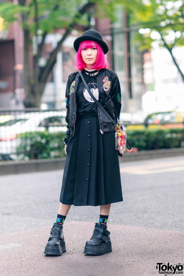 Pink Bob, Diesel Bomber Jacket, Hot Topic T-Shirt, Pleated Skirt, DC Comics Bag & Platform Shoes