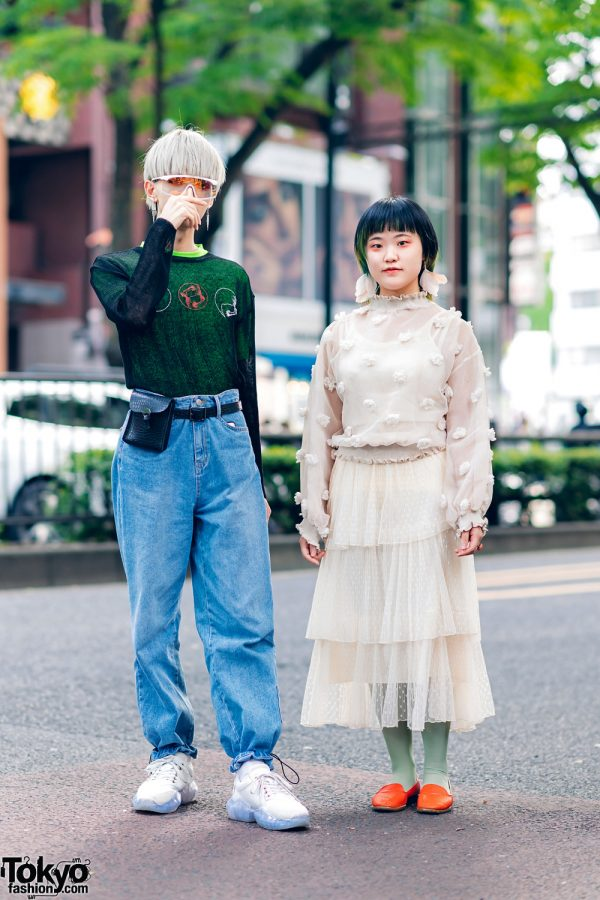 Tokyo Street Styles w/ Ash Gray Hair, Kenzo Shield Visor Sunglasses, MYOB, Open The Door & Jimmy Choo Sneakers