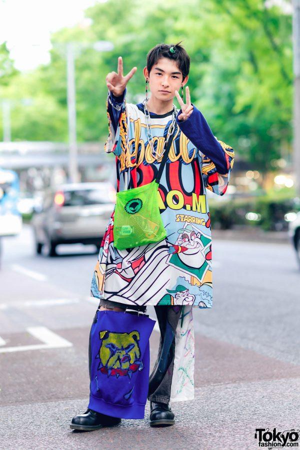 Japanese Jr. High School Student Street Style w/ Graphic Codona De Moda Top, Comme des Garcons, Remake Pants, Alien Bag & Dr. Martens