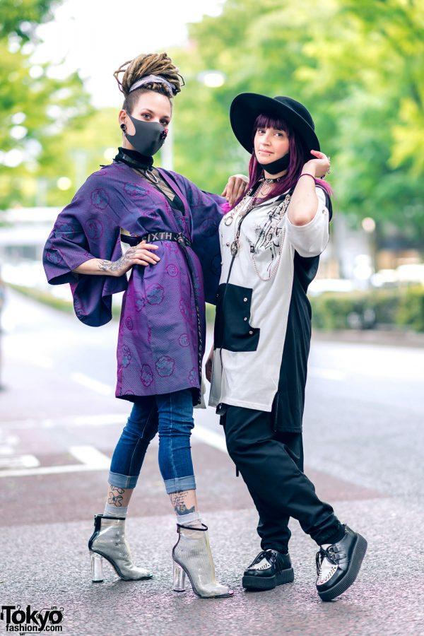 Contemporary Harajuku Streetwear Styles w/ Split Tongue, Boohoo, Sixth June, Clear Boots, Sexpot, Listen Flavor Drop-Crotch Pants, Killstar & Monochrome Creepers