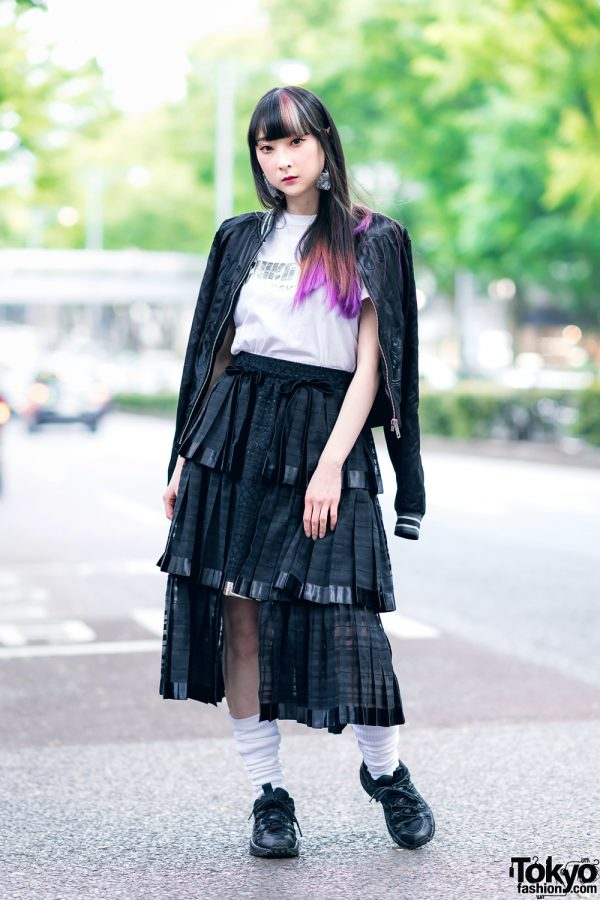 RinRin Doll in Harajuku Street Style w/ Satin Jacket, Michiko London Shirt, Rurumu Skirt, Pom Pom Earrings & Puma Sneakers 2