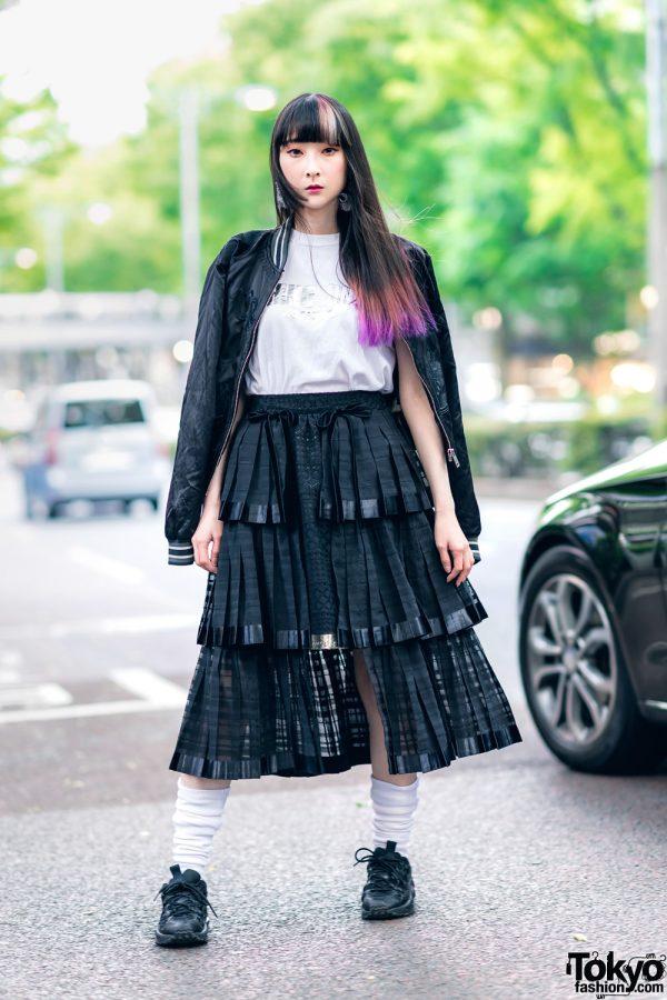 RinRin Doll in Harajuku Street Style w/ Satin Jacket, Michiko London Shirt, Rurumu Skirt, Pom Pom Earrings & Puma Sneakers 3