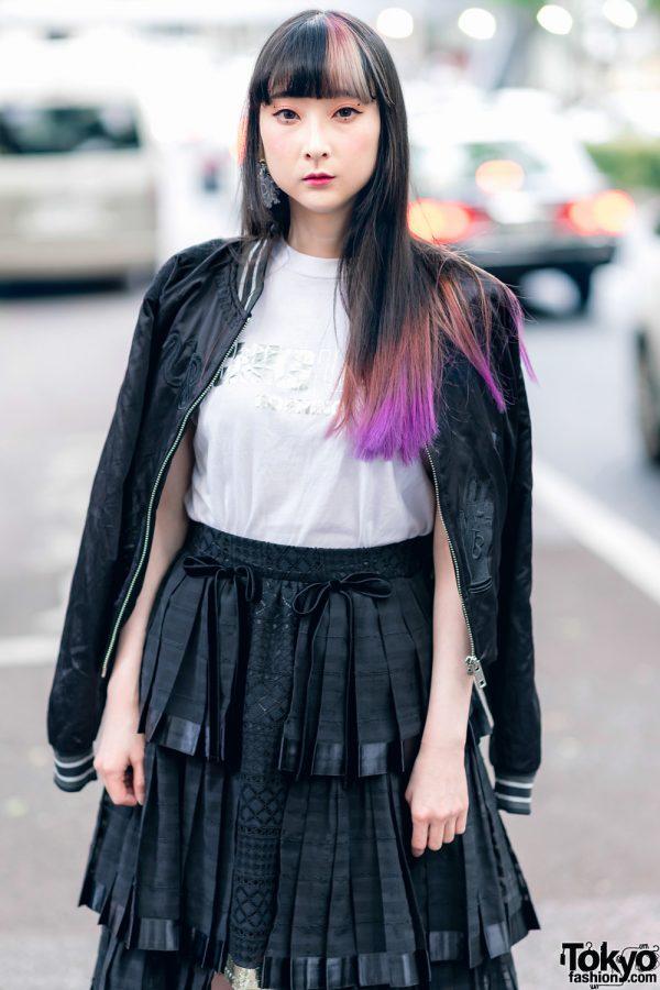 RinRin Doll in Harajuku Street Style w/ Satin Jacket, Michiko London Shirt, Rurumu Skirt, Pom Pom Earrings & Puma Sneakers 5