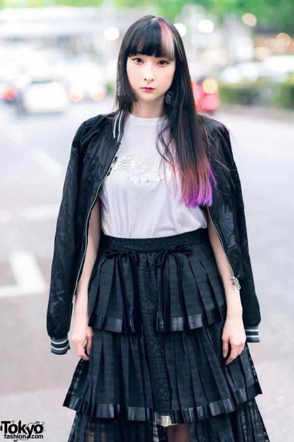 RinRin Doll in Harajuku Street Style w/ Satin Jacket, Michiko London Shirt, Rurumu Skirt, Pom Pom Earrings & Puma Sneakers 6