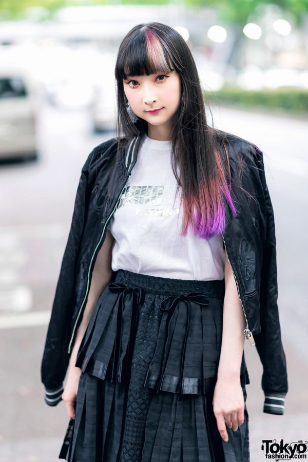 RinRin Doll in Harajuku Street Style w/ Satin Jacket, Michiko London Shirt, Rurumu Skirt, Pom Pom Earrings & Puma Sneakers 7