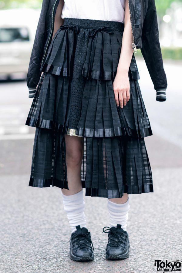 RinRin Doll in Harajuku Street Style w/ Satin Jacket, Michiko London Shirt, Rurumu Skirt, Pom Pom Earrings & Puma Sneakers 9