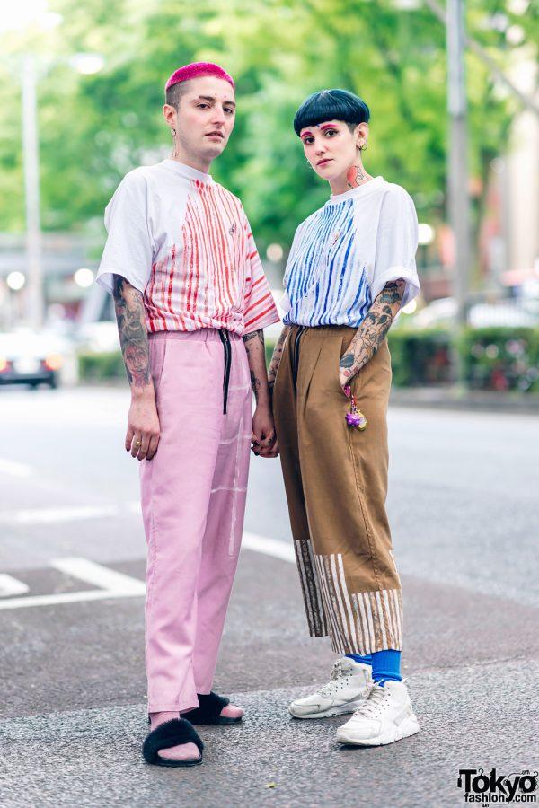 Cris Miranda Street Fashion in Harajuku w/ Pink & Blue Hair, Tattoos & Stripes 2