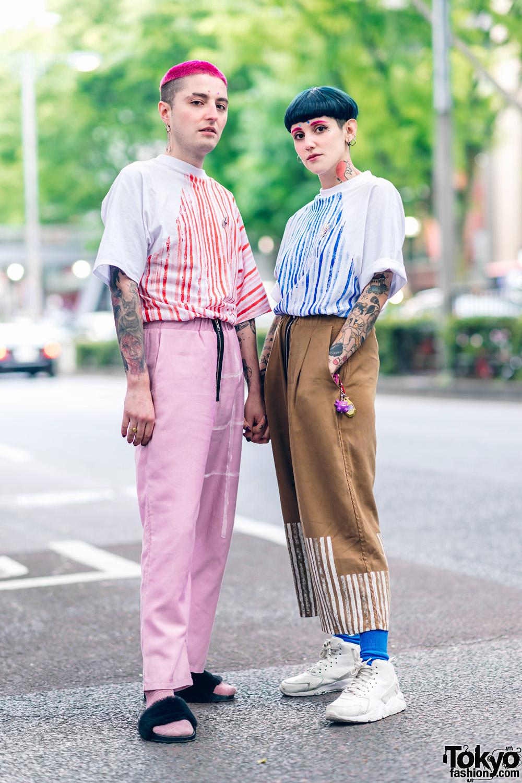 Cris Miranda Street Fashion in Harajuku w/ Pink & Blue Hair, Tattoos & Stripes