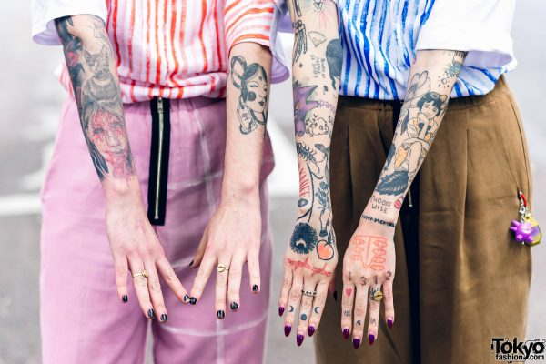 Cris Miranda Street Fashion in Harajuku w/ Pink & Blue Hair, Tattoos & Stripes 5