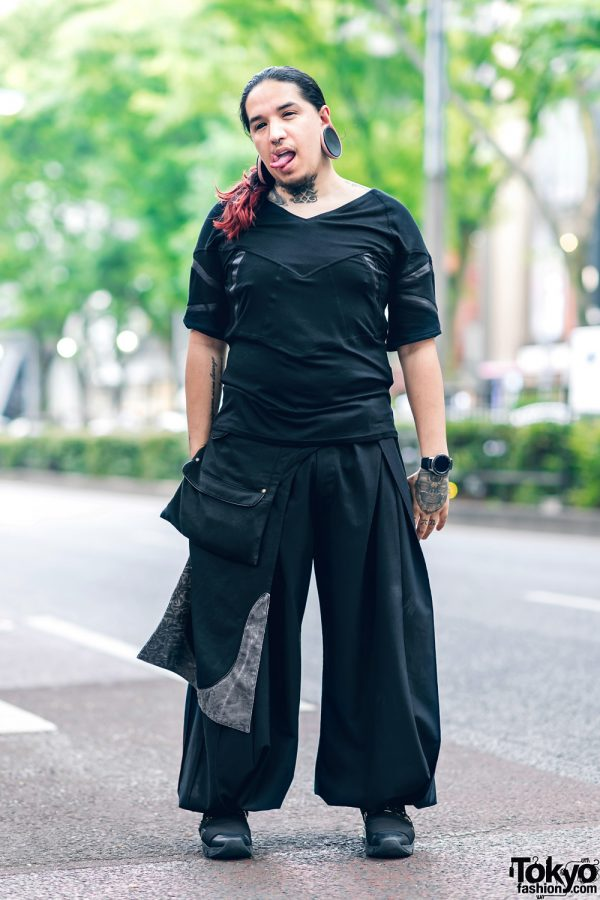 Body Modification Artist in Harajuku w/ Split Tongue, Tattoos, Stretched Ears, Aoi Clothing, Wide Leg Pants & Philipp Plein Sneakers 21