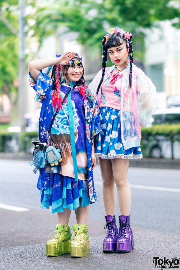 Kawaii Tokyo Streetwear Styles w/ Twin Braids, Colorful Hair, Decora Hair Clips, 6%DOKIDOKI, Claire's, ACDC Rag, Demonia, YRU, Yoshida Beads & Thank You Mart