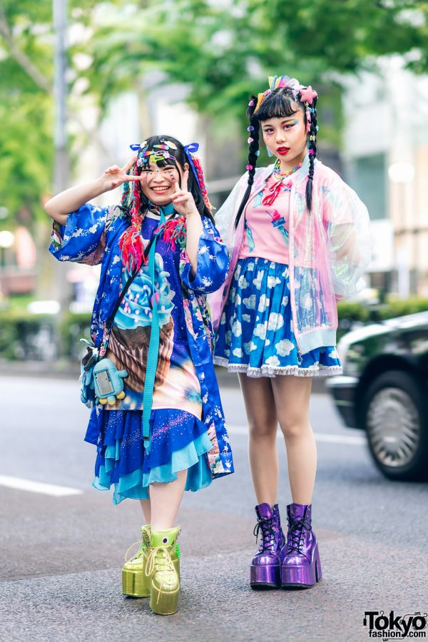 Kawaii Tokyo Streetwear Styles w/ Twin Braids, Colorful Hair, Decora Hair Clips, 6%DOKIDOKI, Claire's, ACDC Rag, Demonia, YRU, Yoshida Beads & Thank You Mart 4