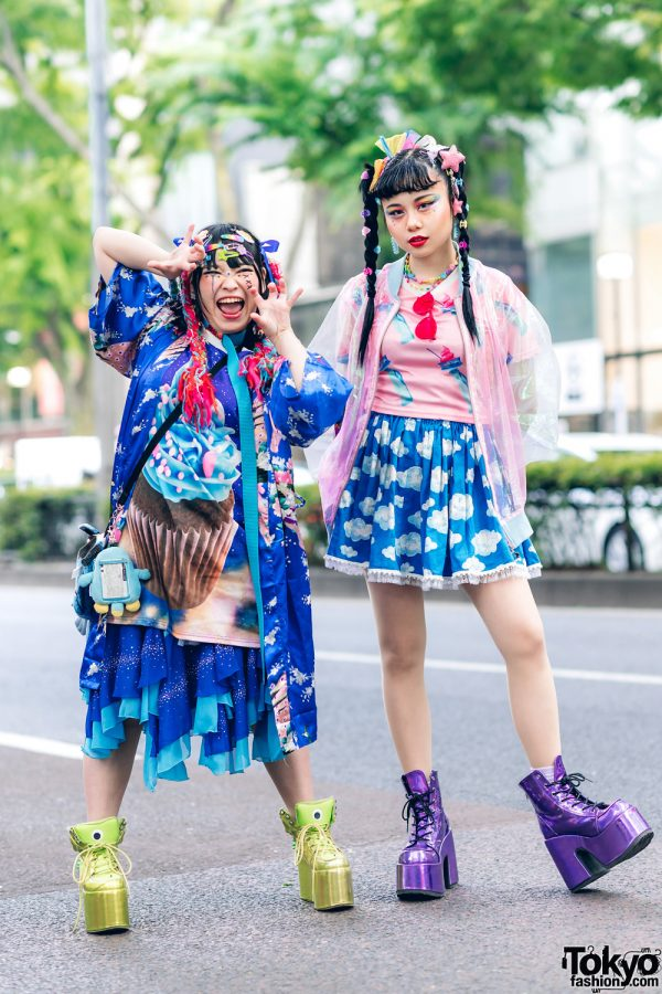 Kawaii Tokyo Streetwear Styles w/ Twin Braids, Colorful Hair, Decora Hair Clips, 6%DOKIDOKI, Claire's, ACDC Rag, Demonia, YRU, Yoshida Beads & Thank You Mart 6