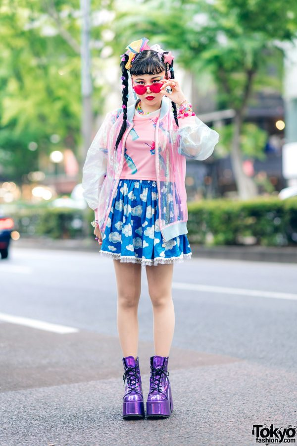 Kawaii Tokyo Streetwear Styles w/ Twin Braids, Colorful Hair, Decora Hair Clips, 6%DOKIDOKI, Claire's, ACDC Rag, Demonia, YRU, Yoshida Beads & Thank You Mart 13
