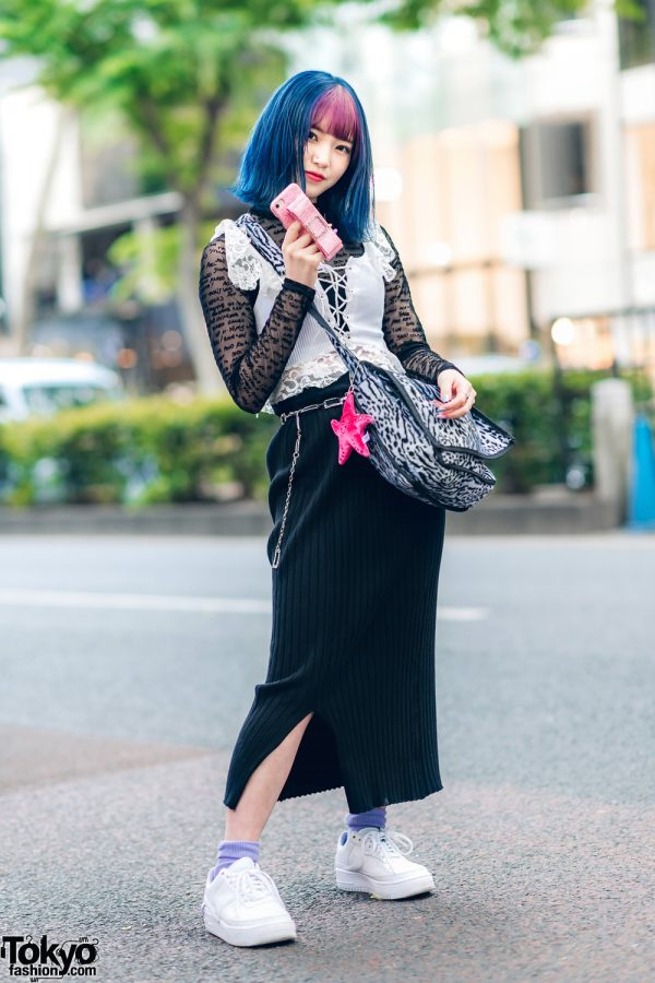 Harajuku Two-Tone Bob, Romantic Standard Lace Top, Baby Lone Ribbed Skirt, Faith Tokyo Furry Bag & Nike Sneakers