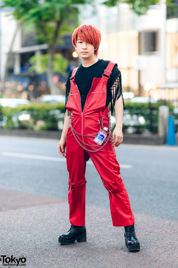 Red & Black Japanese Streetwear Style w/ Red Hair, Fringe Shirt, Kobinai Faux Leather Overalls, Silver Chains & Lace-Up Boots