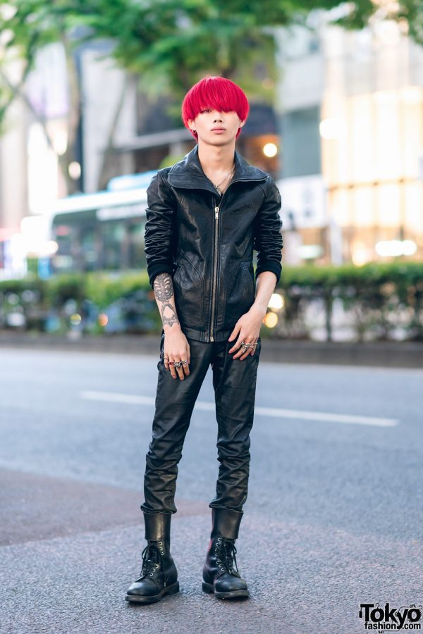 All Black Rick Owens Streetwear Style w/ Red Bob, Faux Leather Jacket, Skinny Pants, Tokyo Human Experiments Knuckle Rings & Vintage Boots