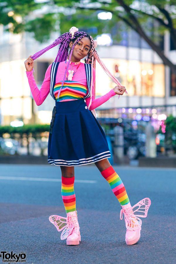 Rainbow Harajuku Street Style w/ Pink Purple Braids & Glitter Platform Butterfly Wing Boots 2