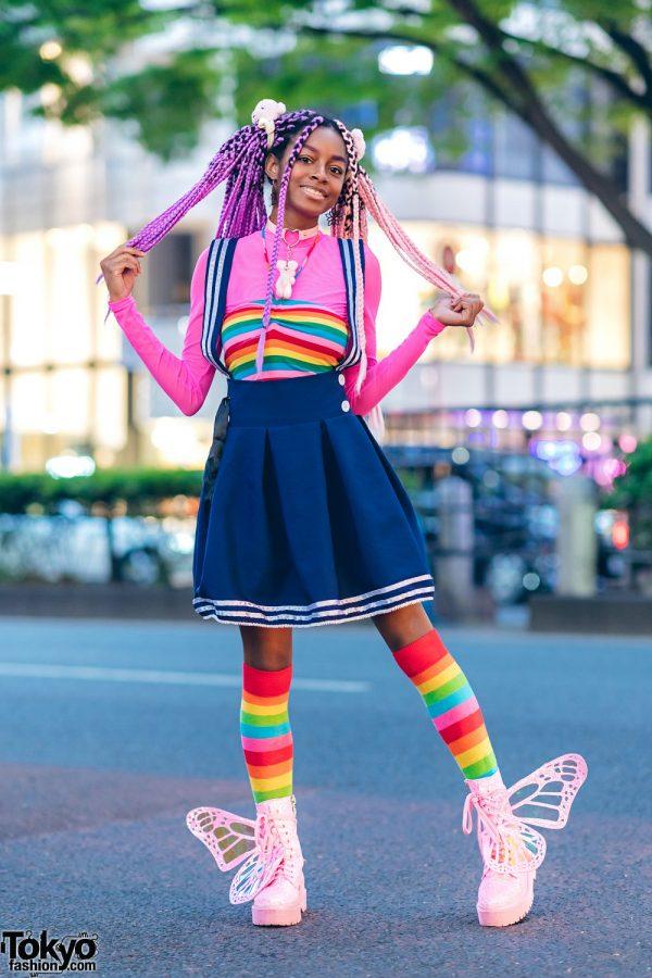 Rainbow Harajuku Street Style w/ Pink Purple Braids & Glitter Platform Butterfly Wing Boots 5