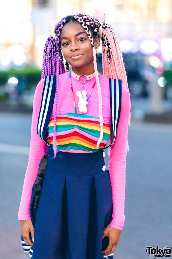 Rainbow Harajuku Street Style w/ Pink Purple Braids & Glitter Platform Butterfly Wing Boots 6