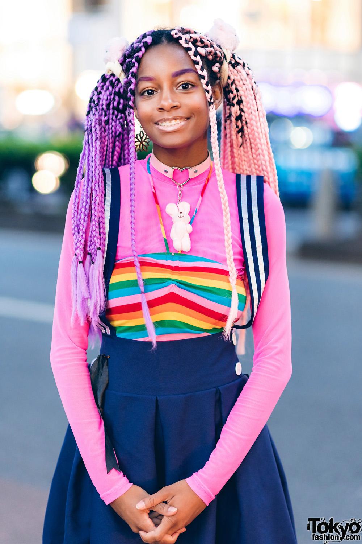 Rainbow Harajuku Street Style W Pink Purple Braids