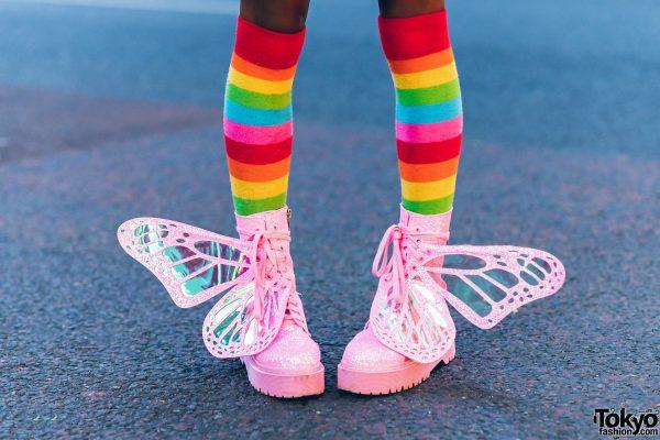 Rainbow Harajuku Street Style w/ Pink Purple Braids & Glitter Platform Butterfly Wing Boots 9