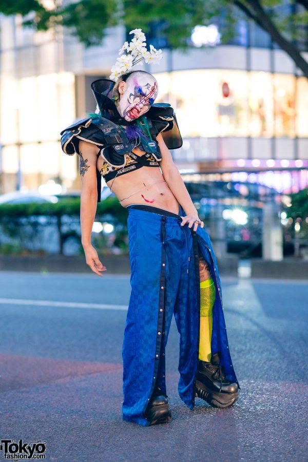 Japanese Avant Garde Style w/ Floral Headpiece, Feather Eyelashes, Football Shoulder Pads, HM x Moschino, Fenty, & Demonia