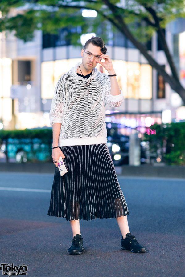 Game Designer Teddy Dief in Harajuku w/ Mesh Hoodie Sweatshirt, V-Neck T-Shirt, Kukubee Meowza Sheer Pleated Skirt & Black Sneakers