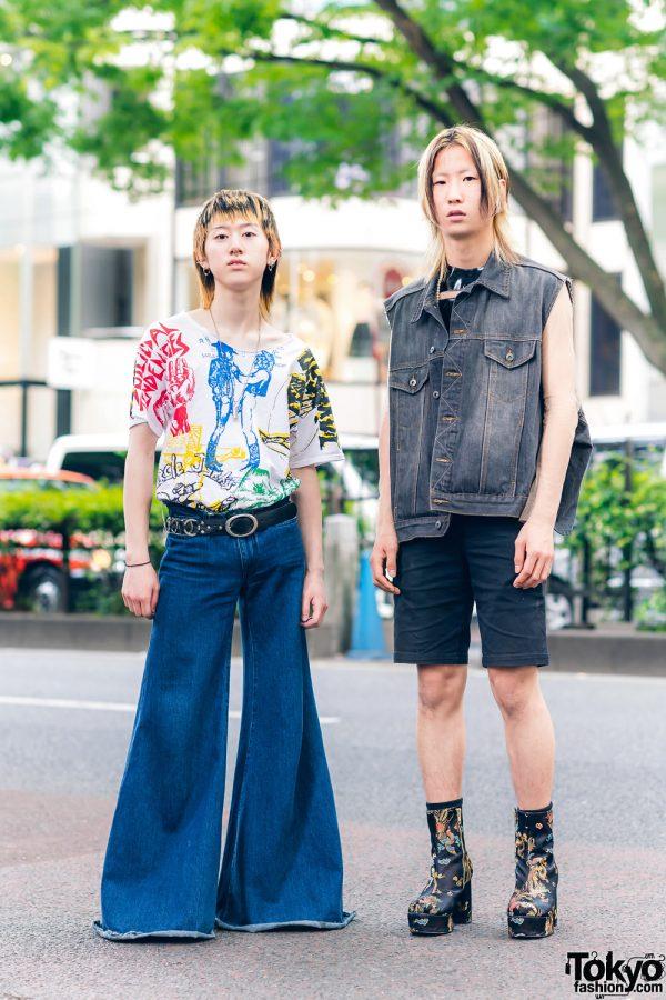 Harajuku Guys Streetwear Styles w/ Dog Harajuku, Marques Alemida Flared Pants, LRS Sheer Top, Maison Margiela & Dragon Platform Boots