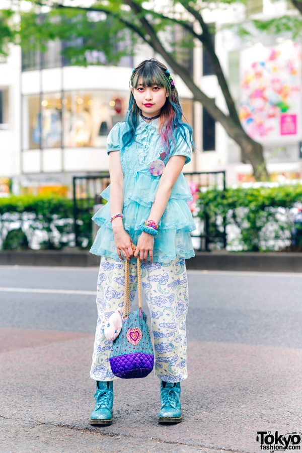 Multicolored Hair, Algonquins Tiered Blouse, Cloud Print Pants, Quilted Bag, 6%DokiDoki & Dr. Martens Glitter Boots