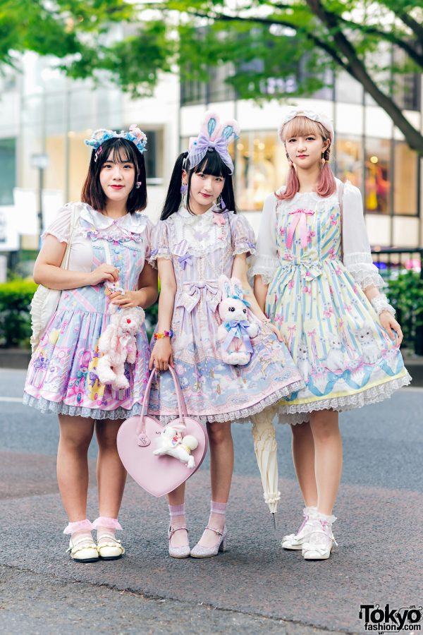 Lolita Street Fashion in Harajuku w/ Bunny Ears, Bows, Angelic Pretty, Nile Perch, Miu Miu, Nannan Special & RoseMarie Seoir