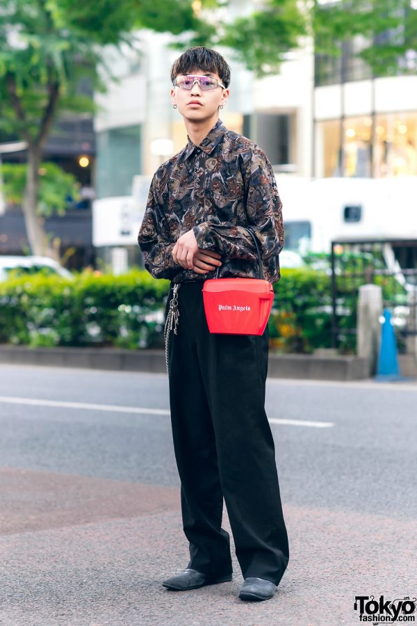 Harajuku Street Style w/ Visor Glasses, Floral Shirt, Comme des Garcons, Undercover, Palm Angels Bag & Paul Smith