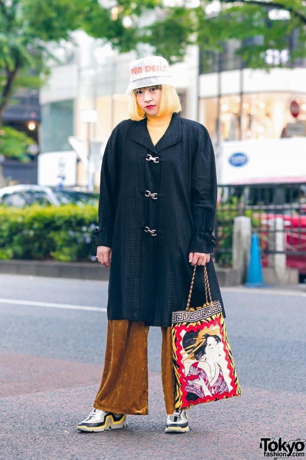 Sushi Shop Staffer in Harajuku w/ Yellow Bob, Never Desist Bucket Hat, GU Velvet Pants, Geisha Print Tote Bag & Pierre Hardy Sneakers