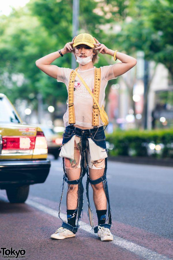 Harajuku Style w/ Sheer Shirt, Flat Suspenders, Handmade Cutout Jeans & Glitter Sneakers