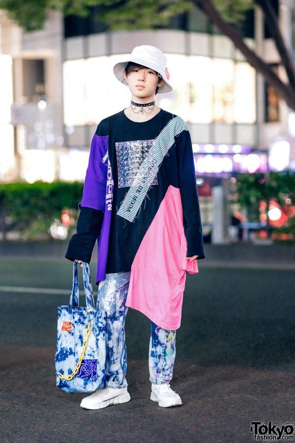 Harajuku Street Fashion w/ Spinns Bucket Hat, Codona De Moda Asymmetrical Sweatshirt, Tie Dye Pants & Sneakers