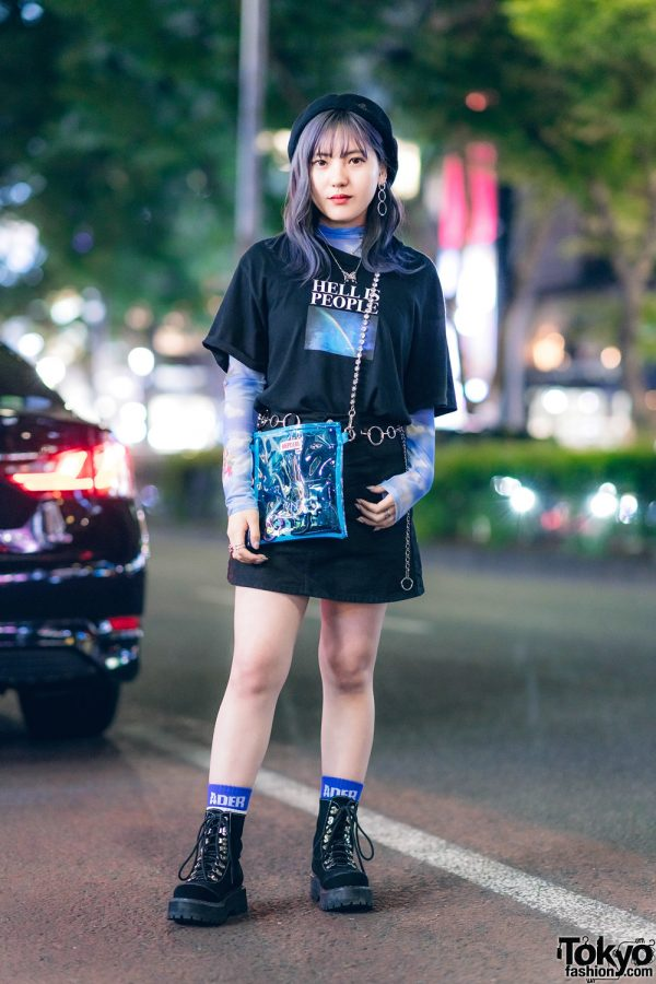 """Faith Tokyo Beret, UNIF """"Hell Is People"""" T-Shirt, Ader Error, Mixxmix, Oh Pearl, Romantic Standard & Bubbles in Harajuku"""