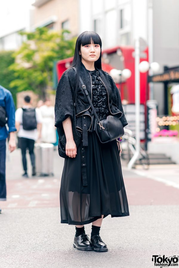 All Black Harajuku Street Style w/ Long Hair, Mame Accessories, Noir Kei Ninomiya Textured Blouse, Sheer Midi Skirt, Crossbody Bag & Lace-Up Shoes