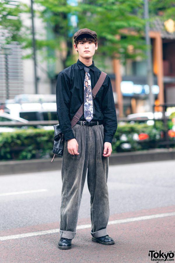 Retro Vintage Menswear Street Style w/ Newsboy Cap, Star Wars Necktie, Cuffed Corduroy Pants, Takeo Kikuchi Crossbody Bag & Vintage Boots