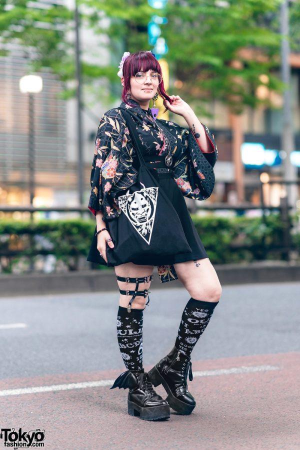 Pink Fringed Updo, Floral Headpiece, Vintage Kimono, Killstar Jumperskirt, Ouija Print Socks, Raf Vo Tattoo Bag & Alaina C Winged Boots