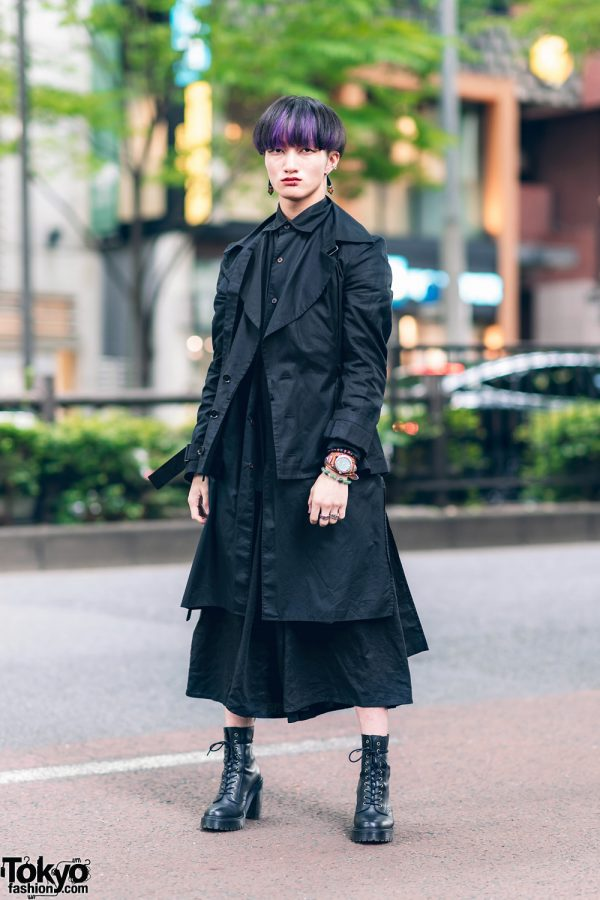 All Black Harajuku Streetwear Style w/ Purple Hair Streaks, Y's Belted Jacket, Y-3 Long Shirt, Lowrys Farm Wide Leg Pants, SAAD Silver & Dr. Martens Boots