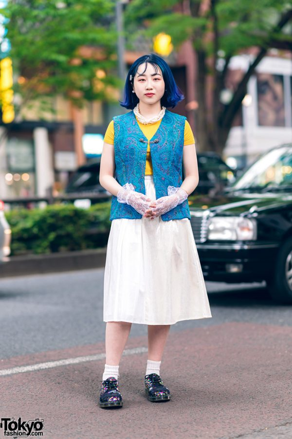 Harajuku Girl Streetwear Style w/ Blue Hair, Pearl Jewelry, Lace Gloves, Kinji Textured Vest, Forever21, Midi Skirt & Dr. Martens Sequin Shoes
