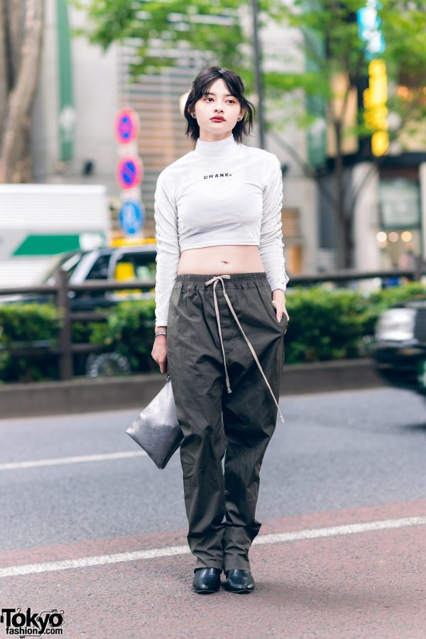 Harajuku Model's Monochrome Street Fashion w/ Crank Cropped Top, Rick Owens Drawstring Pants, Gum Metallic Wristlet, Tokyo Human Experiments & Pointy Boots