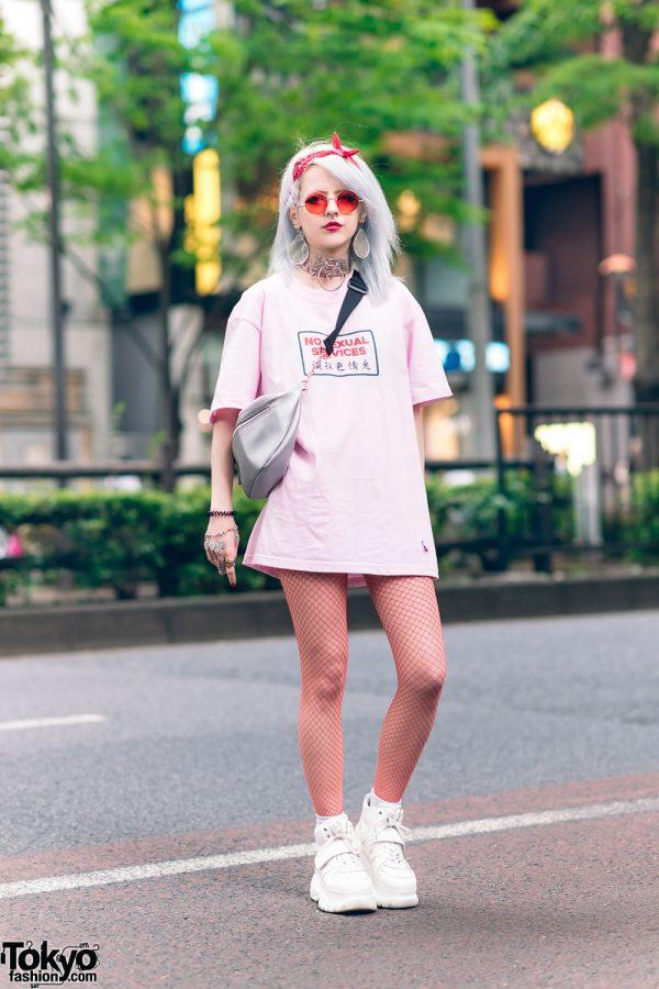 Harajuku Streetwear Style w/ Teardrop Earrings, Fr2ume Kanji Print T-Shirt, Fishnet Tights, Mazohyst Choker, Raspberry Armor Ring & Platform Sneakers