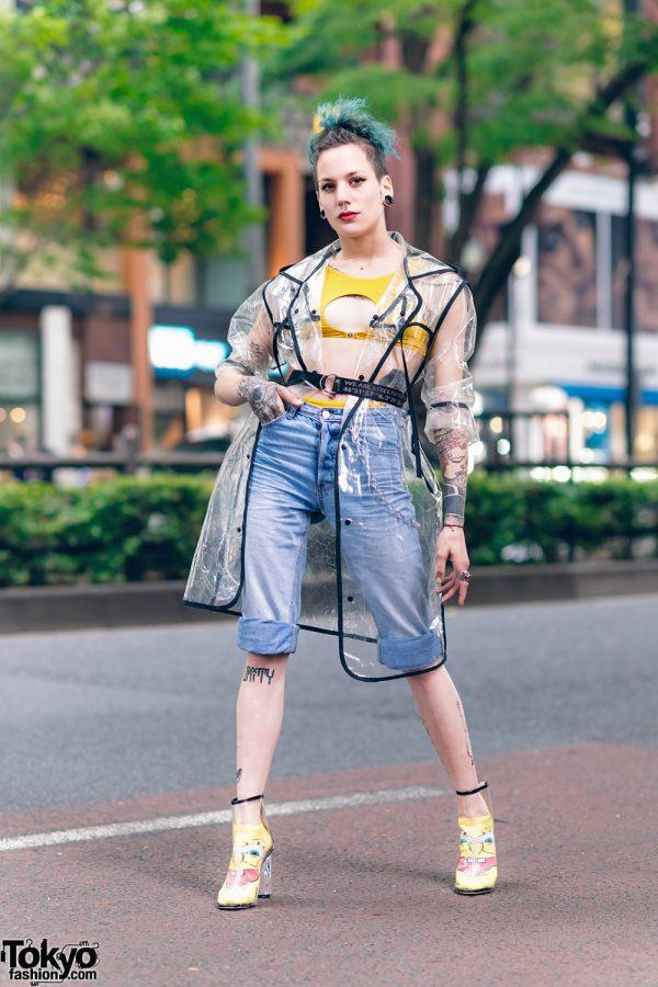 Tokyo Model's Streetwear Style w/ Aqua Hair, Split Tongue, Gauged Ears, Sixth June Clear Coat, Levi's Cuffed Denim Shorts, Spongebob Squarepants Socks & Yeezy Clear Boots