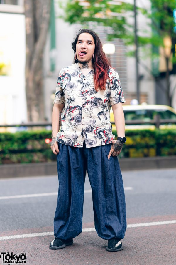 Bod Mod Artist in Casual Harajuku Streetwear Style w/ Gauged Ears, Tattoos, Split Tongue, Sclera Contacts, Aoi Clothing, Galaxxxy Watch & Yeezy Oreo Shoes