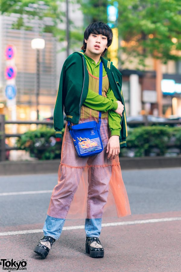 Eclectic Layered Street Fashion in Harajuku w/ Sailor Collar Jacket, Sheer Tiered Dress, Denim Pants, Sling Bag & Snakeskin Shoes