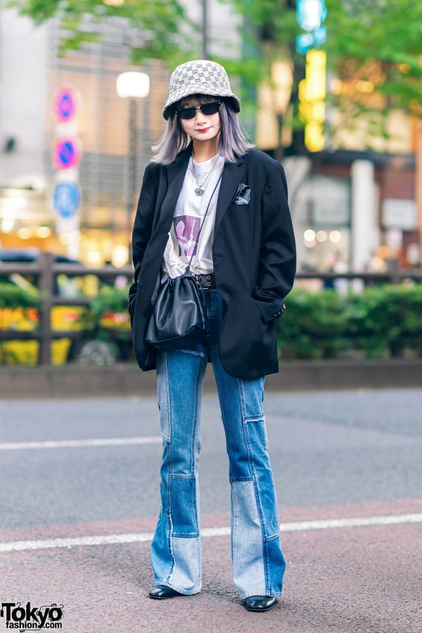 Harajuku Girls Street Styles W Purple Hair Gucci Bucket