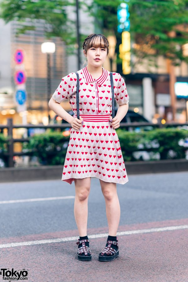 Harajuku Street Style w/ Braided Hairstyle, Vivienne Westwood Ear Studs, Kobinai Heart Print Dress, Quilted Backpack & Merry Jenny Strap Shoes