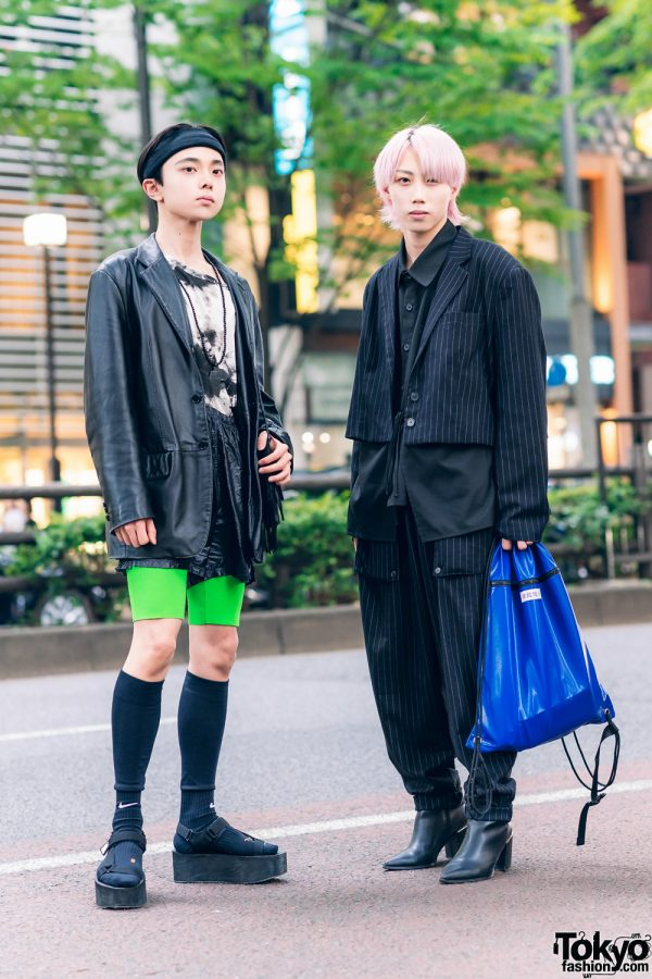 Tokyo Streetwear Styles w/ Pink Hair, ESC Studio Pinstripe Suit, Faux Leather Blazer, Cycling Shorts, Fringed Bag & Asos Pointy Boots