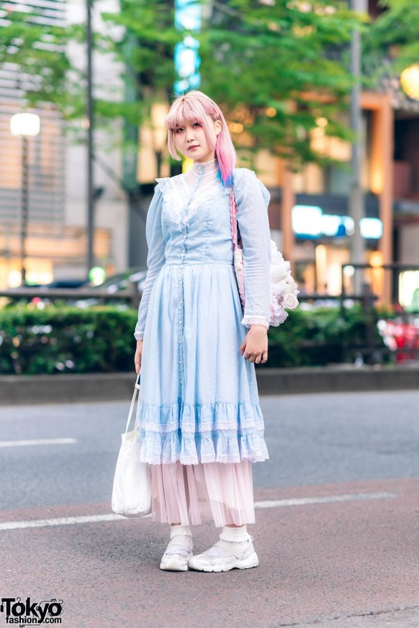 Harajuku Vintage Pastel Fashion w/ Pink Hair, Gunne Sax Ruffle Dress, Sheer Maxi Skirt, Gunifuni Sheepskin, &  Plushie Bag